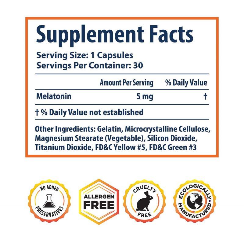 Melatonin Sleep Aid supplement facts